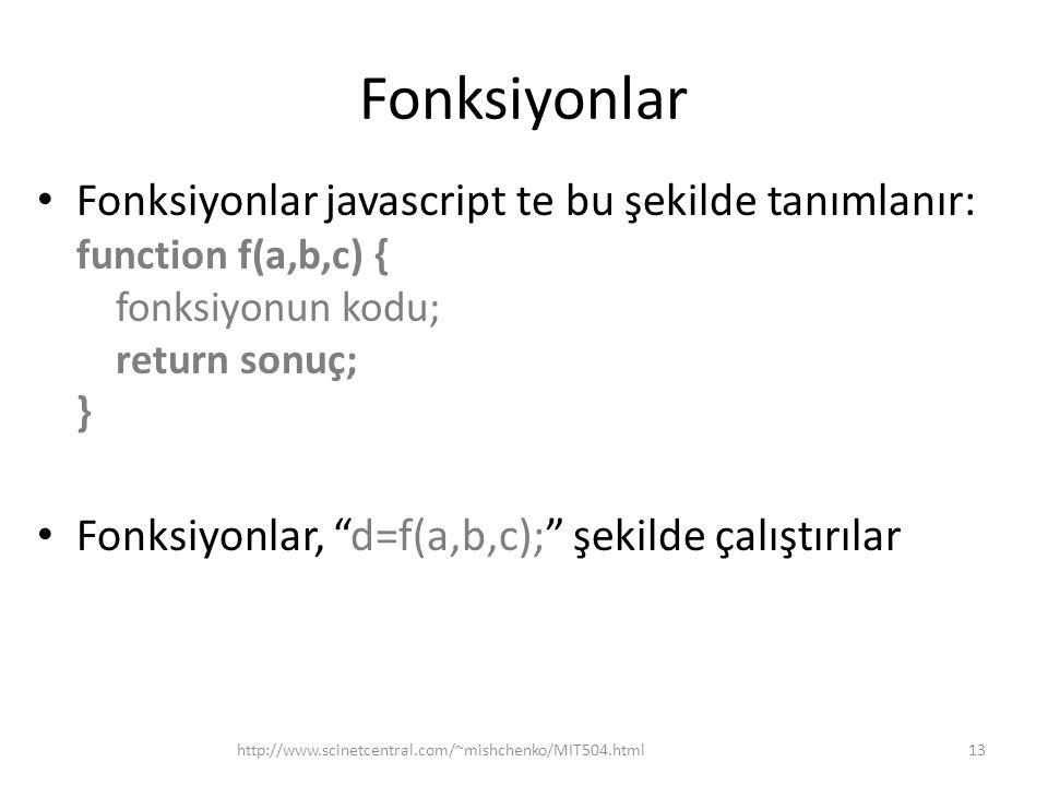 Fonksiyonlar Fonksiyonlar javascript te bu şekilde tanımlanır: function f(a,b,c) { fonksiyonun kodu; return sonuç; }