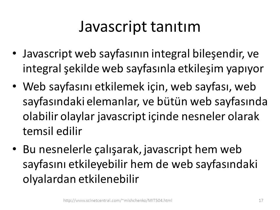 Javascript tanıtım Javascript web sayfasının integral bileşendir, ve integral şekilde web sayfasınla etkileşim yapıyor.