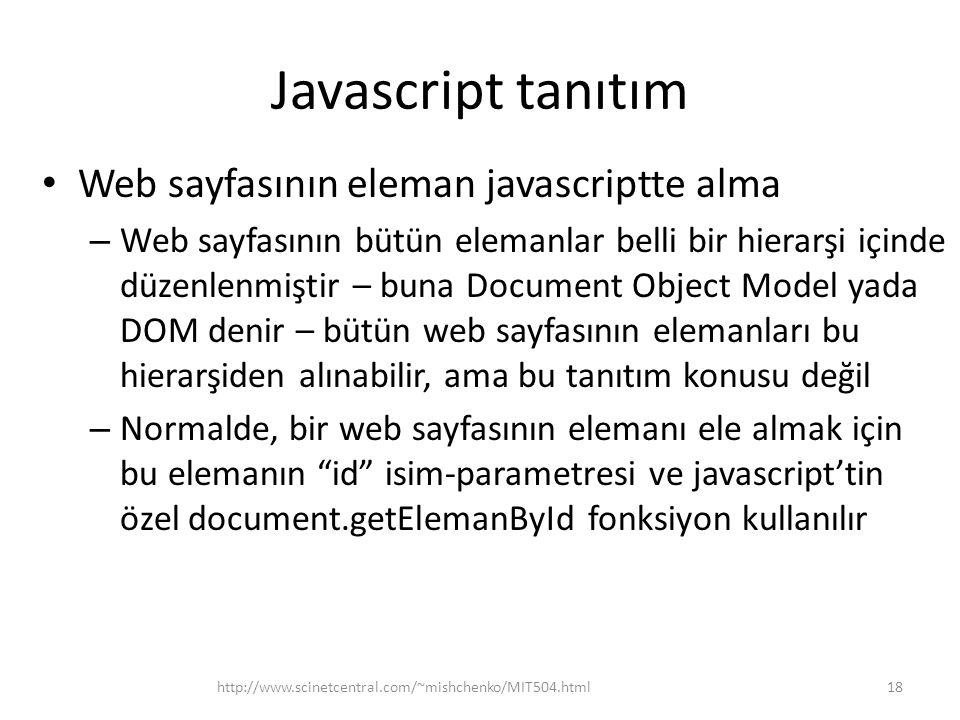 Javascript tanıtım Web sayfasının eleman javascriptte alma