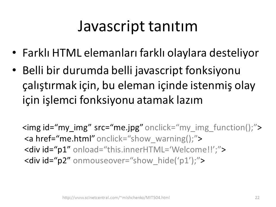 Javascript tanıtım Farklı HTML elemanları farklı olaylara desteliyor