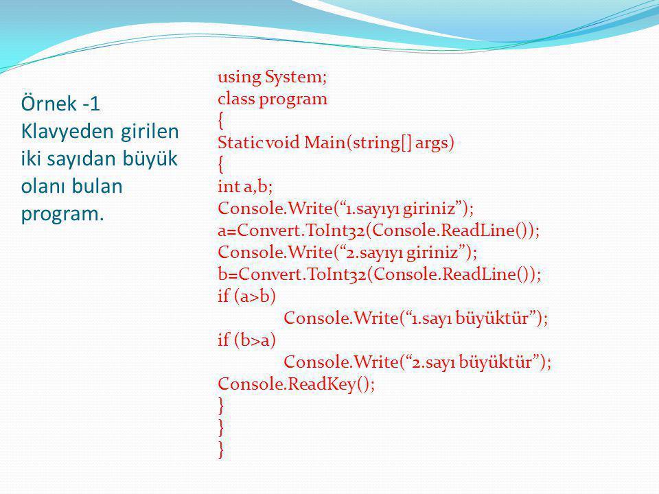 Örnek -1 Klavyeden girilen iki sayıdan büyük olanı bulan program.