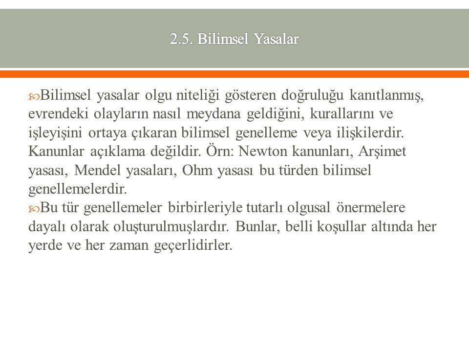 2.5. Bilimsel Yasalar