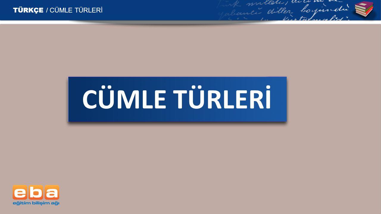 TÜRKÇE / CÜMLE TÜRLERİ CÜMLE TÜRLERİ