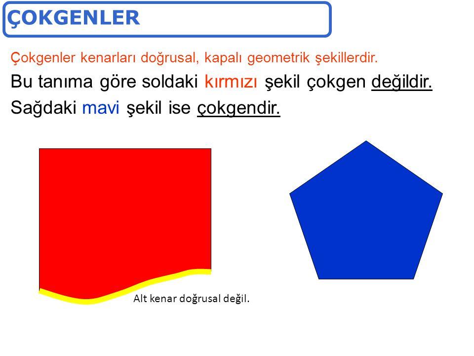 ÇOKGENLER Bu tanıma göre soldaki kırmızı şekil çokgen değildir.