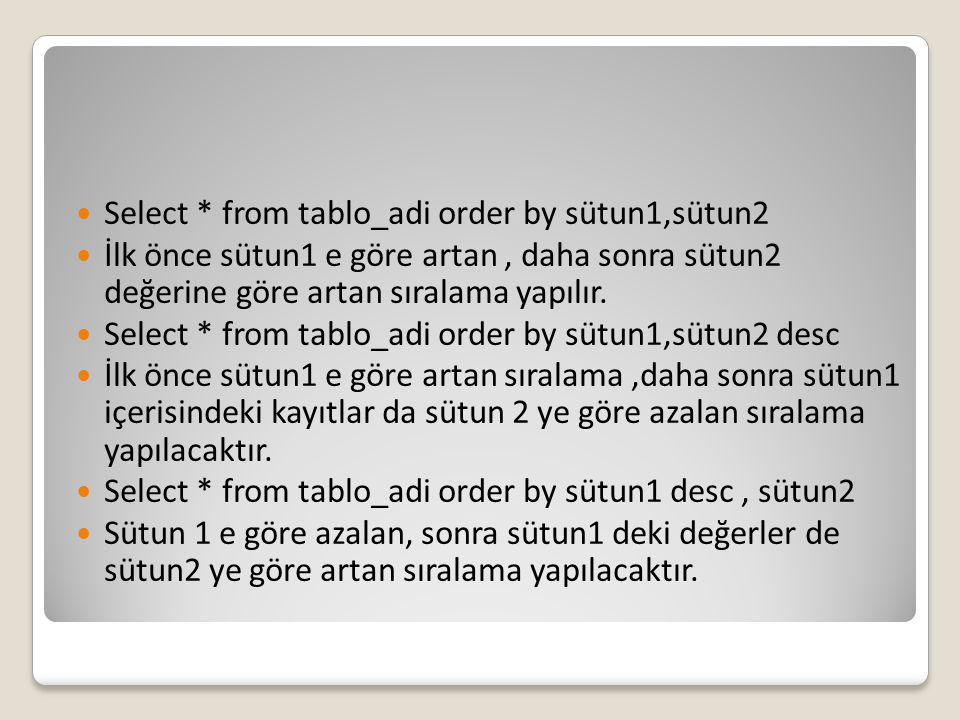 Select * from tablo_adi order by sütun1,sütun2