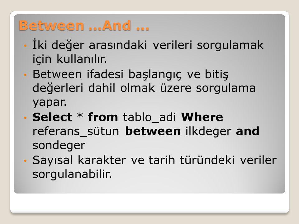 Between …And … İki değer arasındaki verileri sorgulamak için kullanılır.