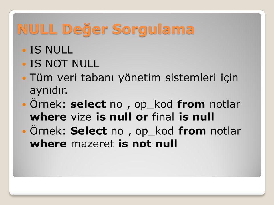 NULL Değer Sorgulama IS NULL IS NOT NULL