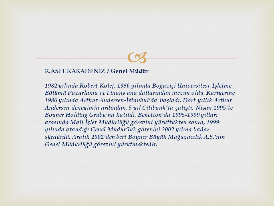 R.ASLI KARADENİZ / Genel Müdür