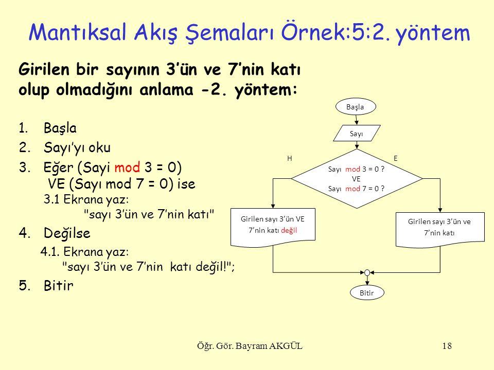 Mantıksal Akış Şemaları Örnek:5:2. yöntem