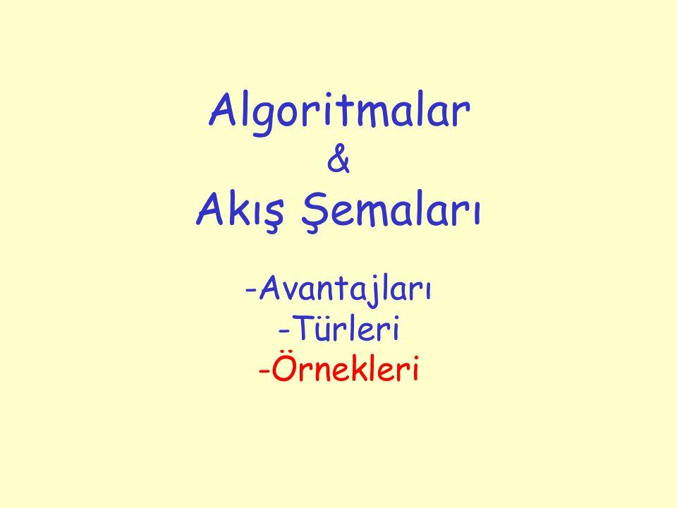 Algoritmalar & Akış Şemaları -Avantajları -Türleri -Örnekleri
