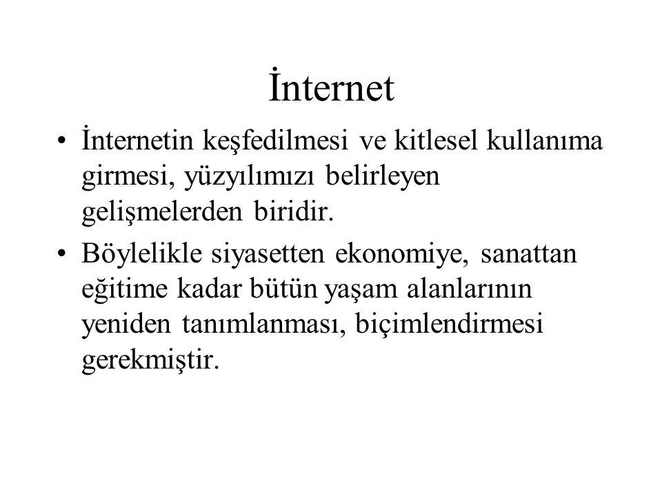 İnternet İnternetin keşfedilmesi ve kitlesel kullanıma girmesi, yüzyılımızı belirleyen gelişmelerden biridir.