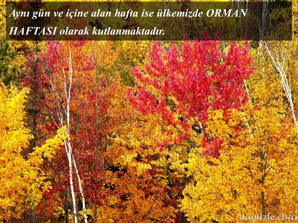 Aynı gün ve içine alan hafta ise ülkemizde ORMAN HAFTASI olarak kutlanmaktadır.