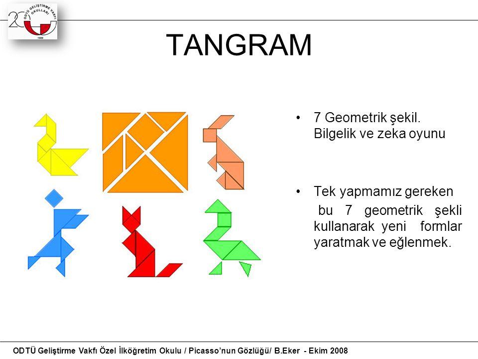 TANGRAM 7 Geometrik şekil. Bilgelik ve zeka oyunu Tek yapmamız gereken