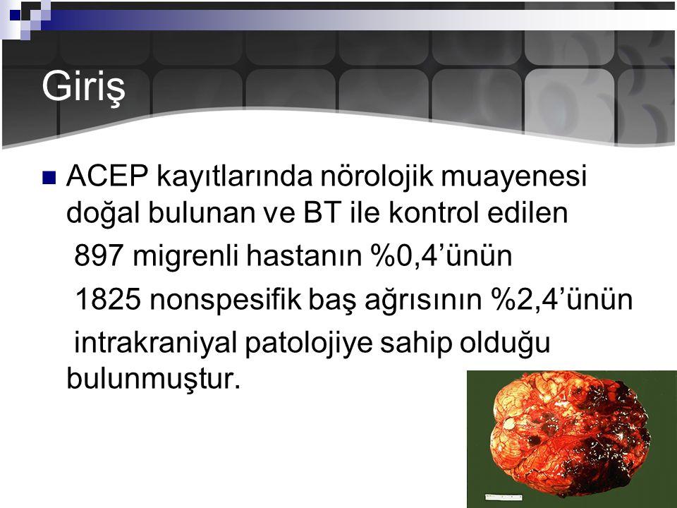 Giriş ACEP kayıtlarında nörolojik muayenesi doğal bulunan ve BT ile kontrol edilen. 897 migrenli hastanın %0,4'ünün.