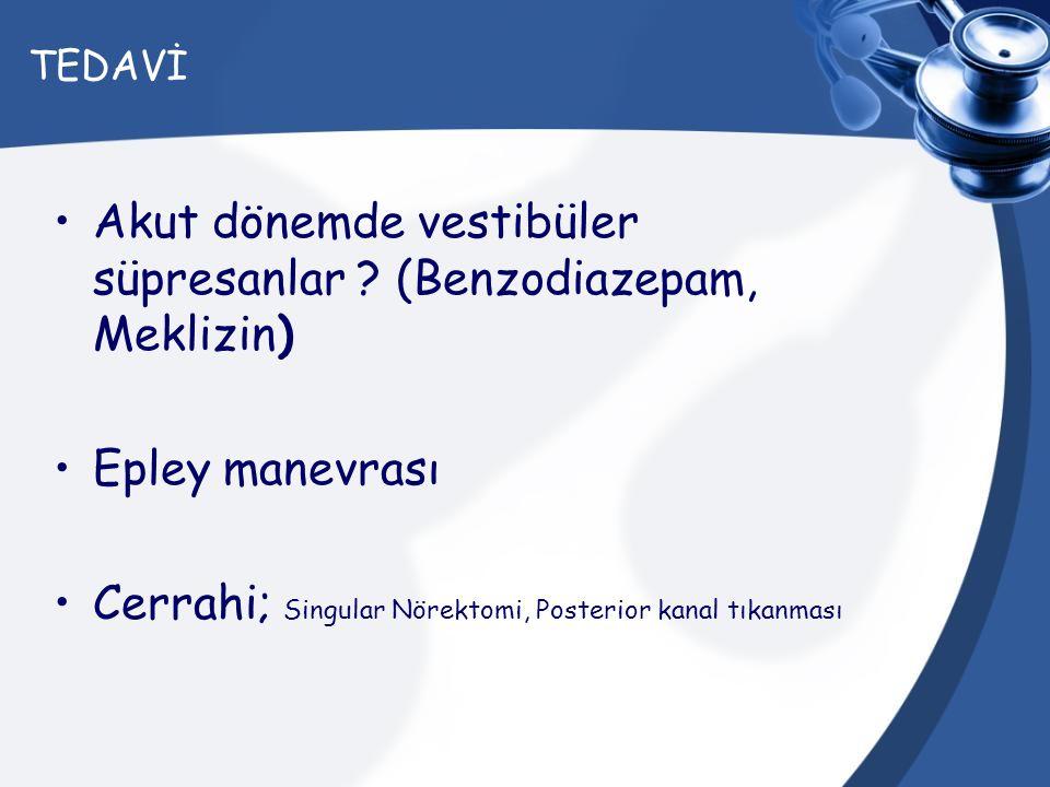 Akut dönemde vestibüler süpresanlar (Benzodiazepam, Meklizin)