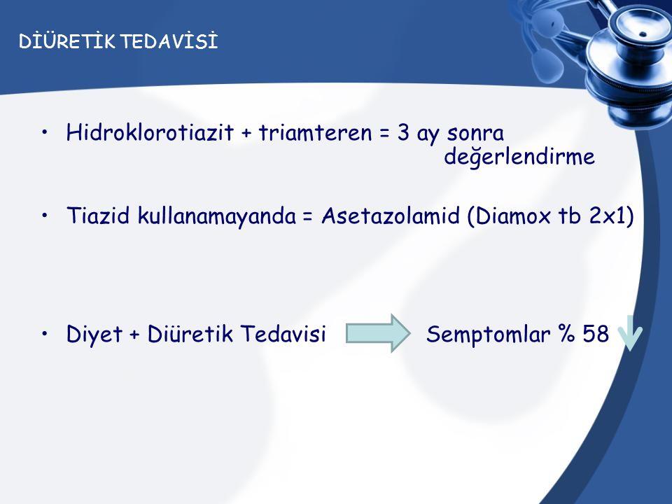 Hidroklorotiazit + triamteren = 3 ay sonra değerlendirme
