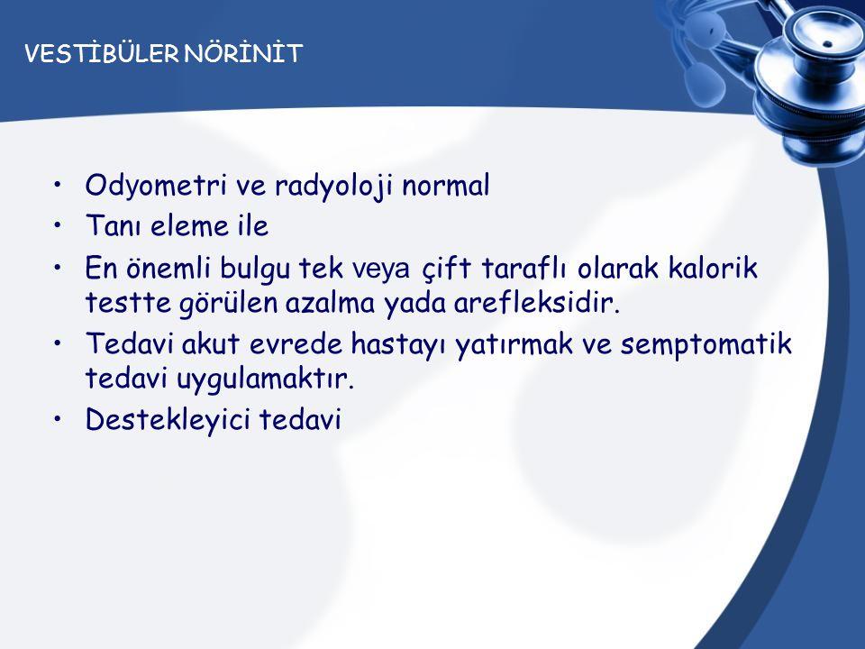 Odyometri ve radyoloji normal Tanı eleme ile