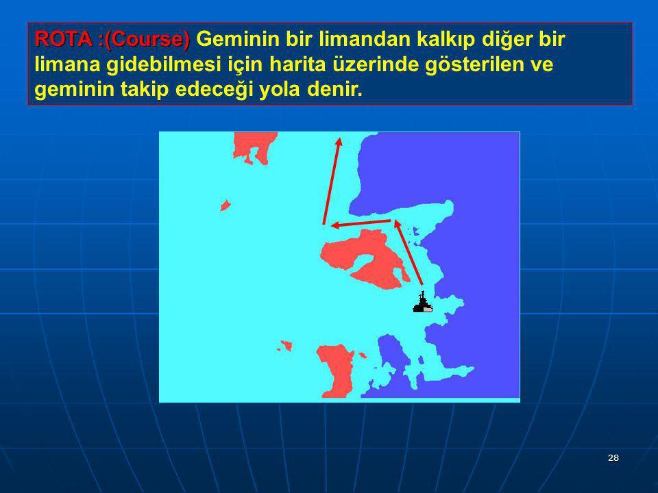 ROTA :(Course) Geminin bir limandan kalkıp diğer bir limana gidebilmesi için harita üzerinde gösterilen ve geminin takip edeceği yola denir.