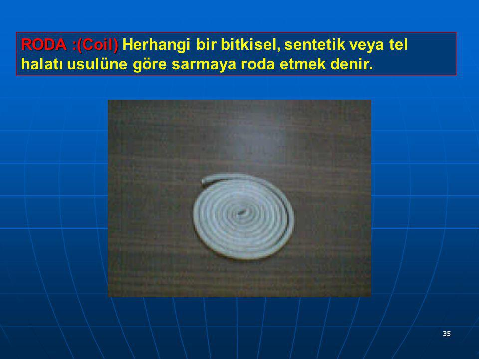 RODA :(Coil) Herhangi bir bitkisel, sentetik veya tel halatı usulüne göre sarmaya roda etmek denir.