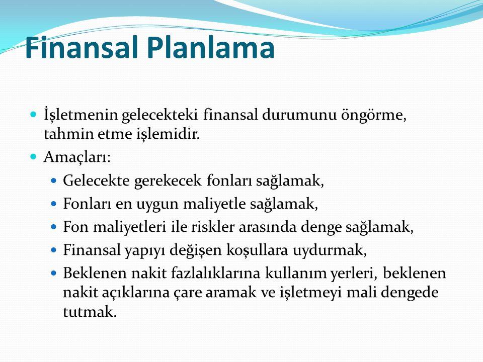 Finansal Planlama İşletmenin gelecekteki finansal durumunu öngörme, tahmin etme işlemidir. Amaçları: