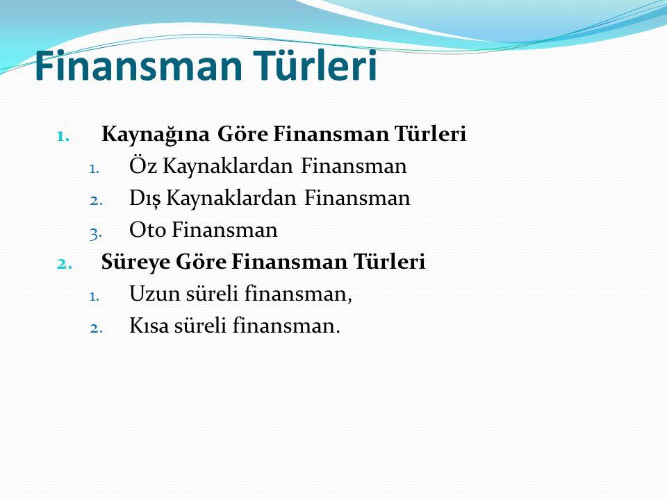 Finansman Türleri Kaynağına Göre Finansman Türleri