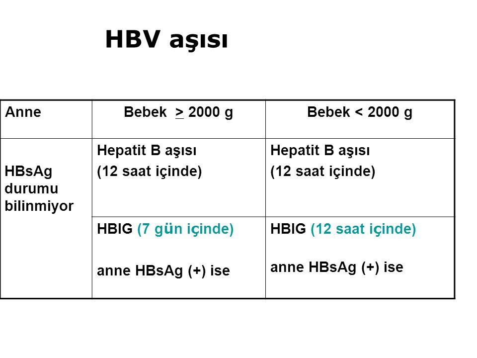HBV aşısı Anne Bebek > 2000 g Bebek < 2000 g