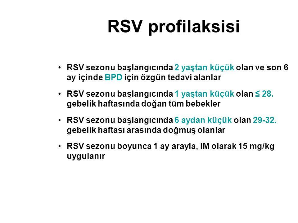 RSV profilaksisi RSV sezonu başlangıcında 2 yaştan küçük olan ve son 6 ay içinde BPD için özgün tedavi alanlar.