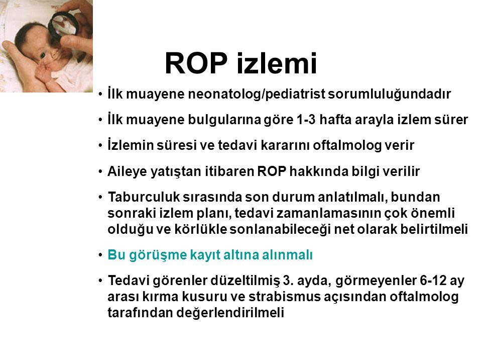 ROP izlemi İlk muayene neonatolog/pediatrist sorumluluğundadır