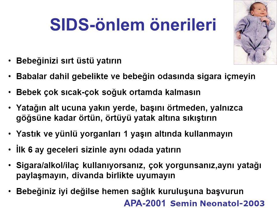 SIDS-önlem önerileri APA-2001 Semin Neonatol-2003