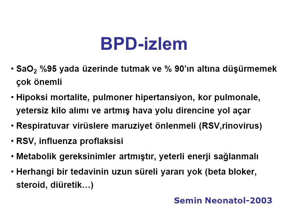 BPD-izlem SaO2 %95 yada üzerinde tutmak ve % 90'ın altına düşürmemek çok önemli.