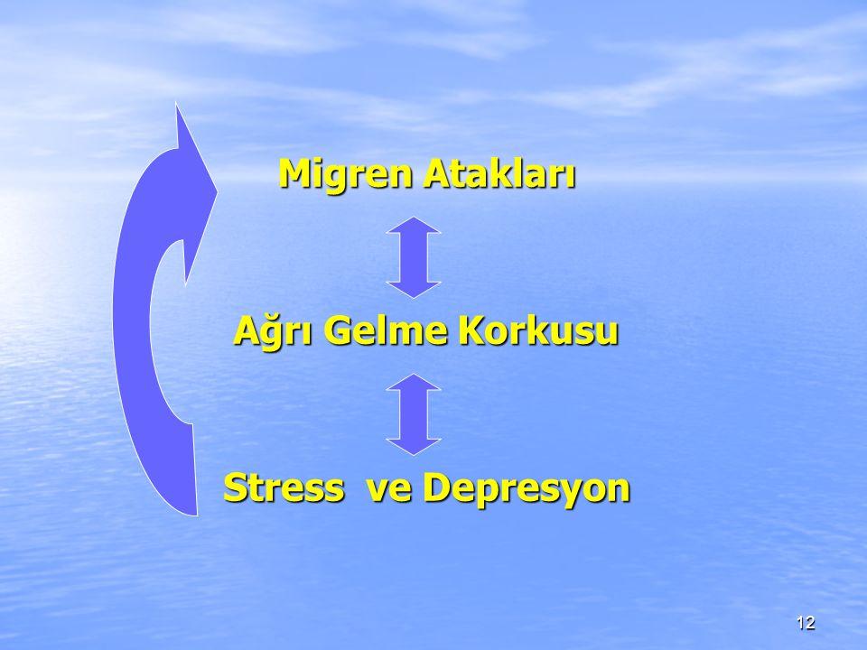 Migren Atakları Ağrı Gelme Korkusu Stress ve Depresyon