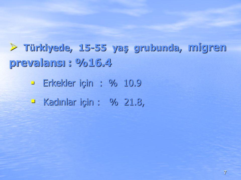Türkiyede, 15-55 yaş grubunda, migren prevalansı : %16.4