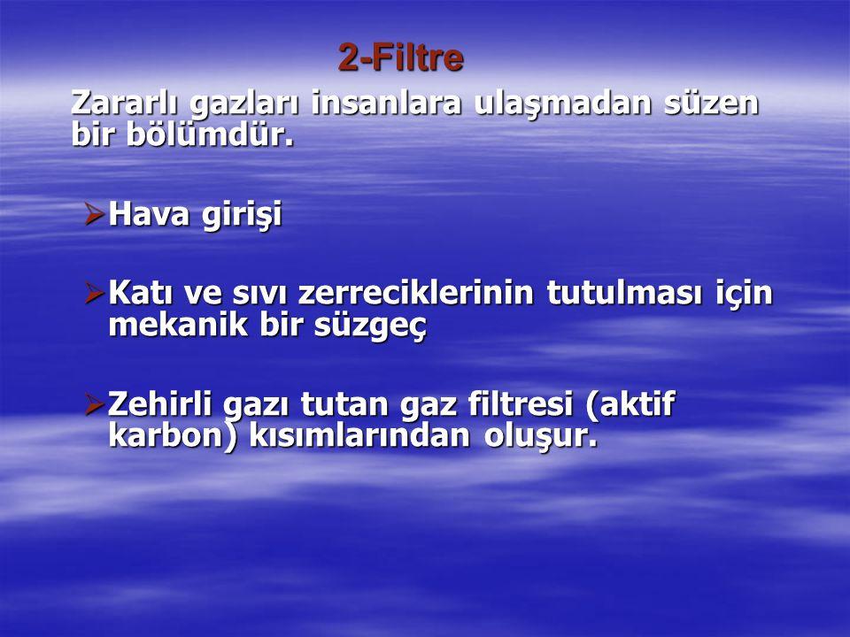 2-Filtre Zararlı gazları insanlara ulaşmadan süzen bir bölümdür. Hava girişi. Katı ve sıvı zerreciklerinin tutulması için mekanik bir süzgeç.