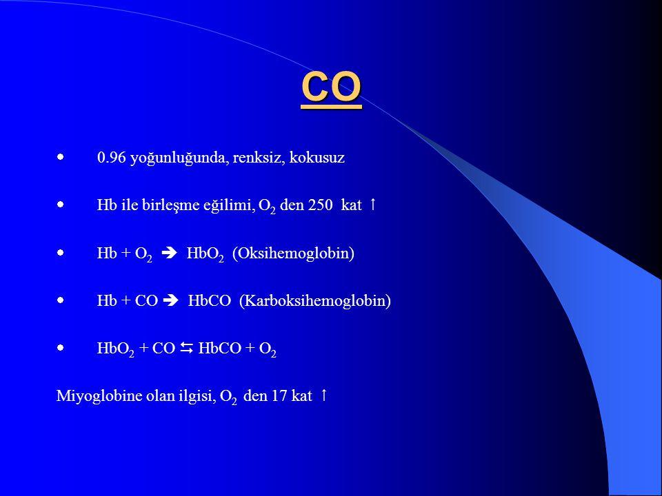 CO · 0.96 yoğunluğunda, renksiz, kokusuz