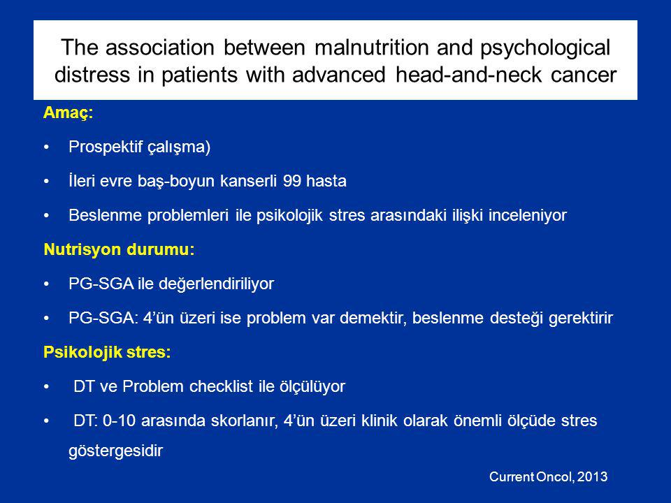 The association between malnutrition and psychological distress in patients with advanced head-and-neck cancer