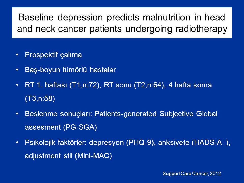 Baseline depression predicts malnutrition in head and neck cancer patients undergoing radiotherapy