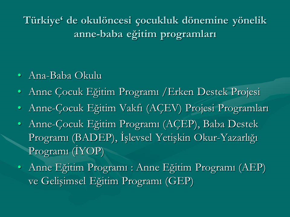 Türkiye' de okulöncesi çocukluk dönemine yönelik anne-baba eğitim programları