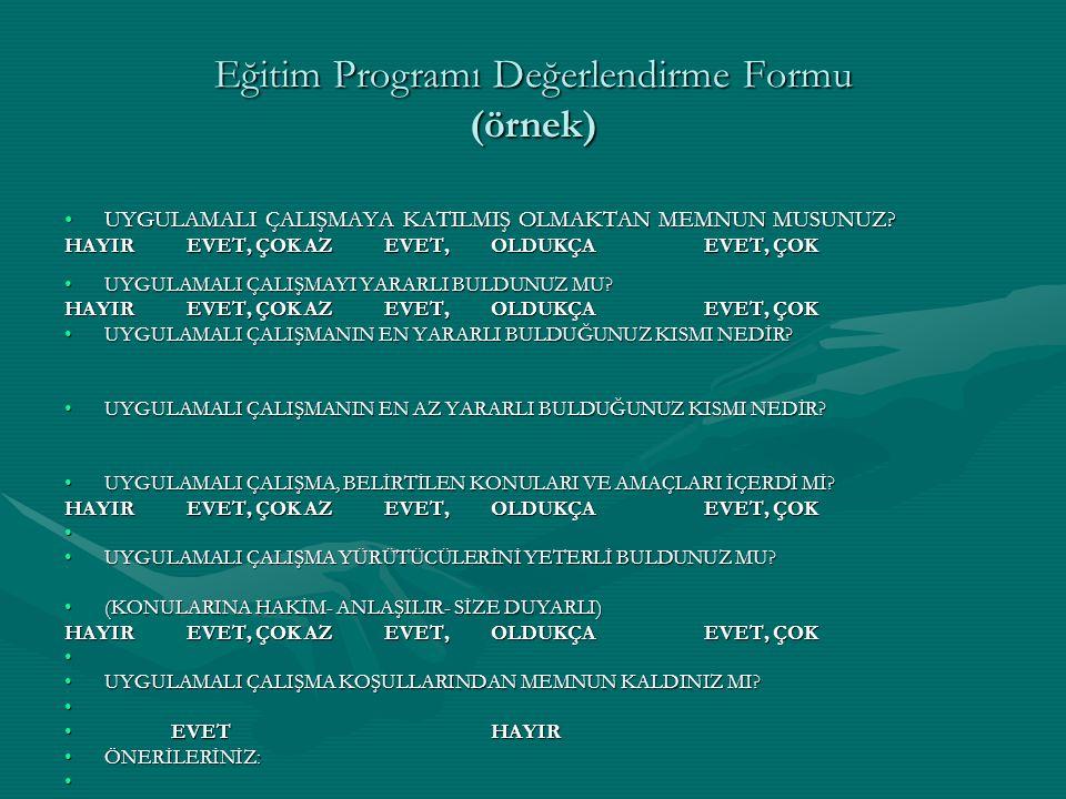 Eğitim Programı Değerlendirme Formu (örnek)