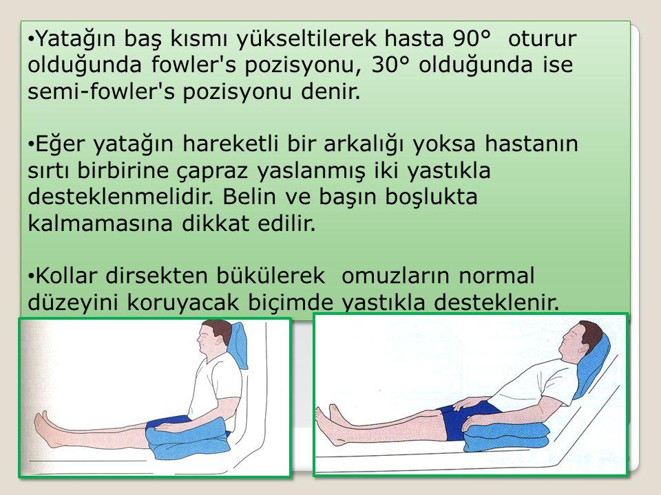 Yatağın baş kısmı yükseltilerek hasta 90° oturur olduğunda fowler s pozisyonu, 30° olduğunda ise semi-fowler s pozisyonu denir.