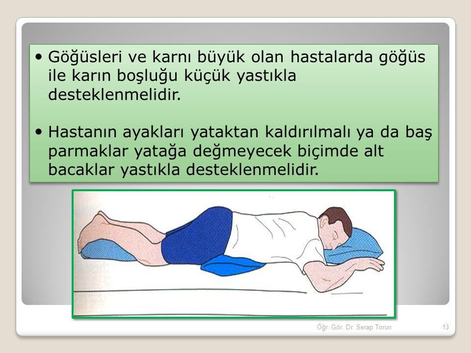 Göğüsleri ve karnı büyük olan hastalarda göğüs ile karın boşluğu küçük yastıkla desteklenmelidir.