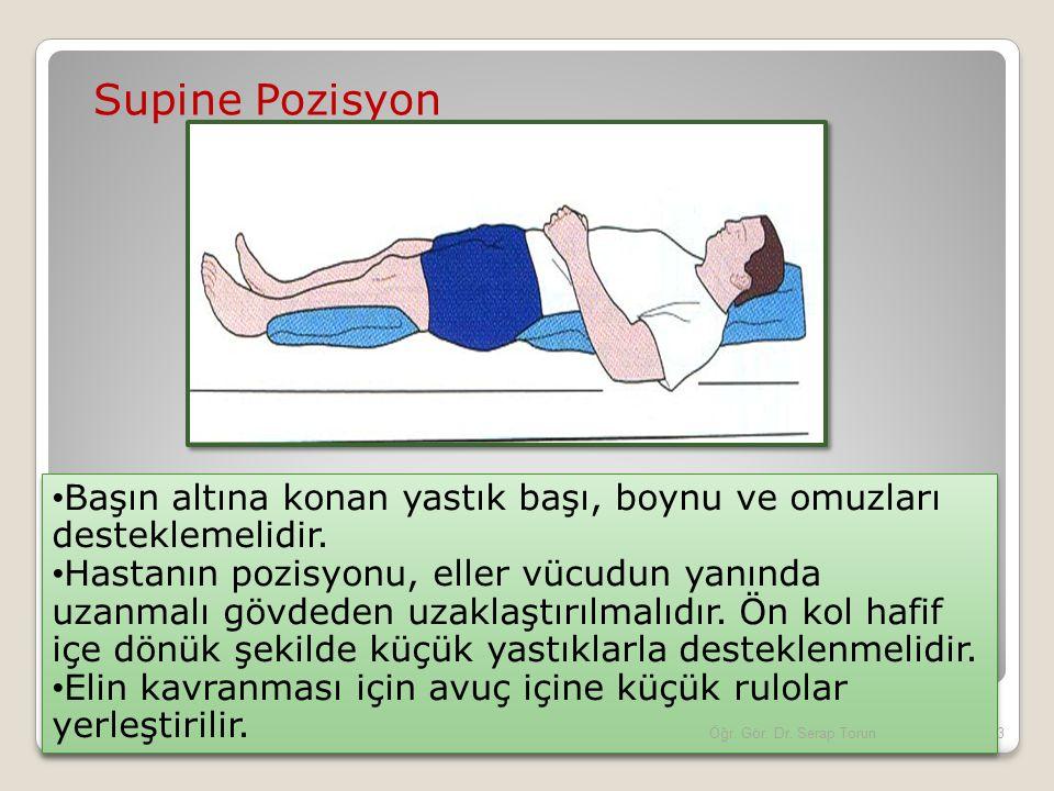 Supine Pozisyon Başın altına konan yastık başı, boynu ve omuzları desteklemelidir.