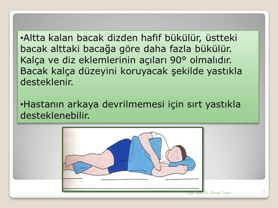 Hastanın arkaya devrilmemesi için sırt yastıkla desteklenebilir.
