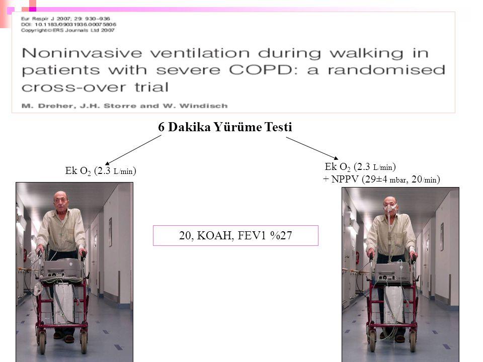 6 Dakika Yürüme Testi 20, KOAH, FEV1 %27 Ek O2 (2.3 L/min)