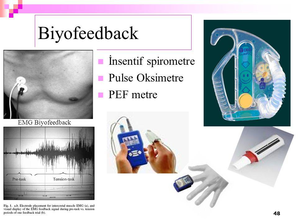 Biyofeedback İnsentif spirometre Pulse Oksimetre PEF metre