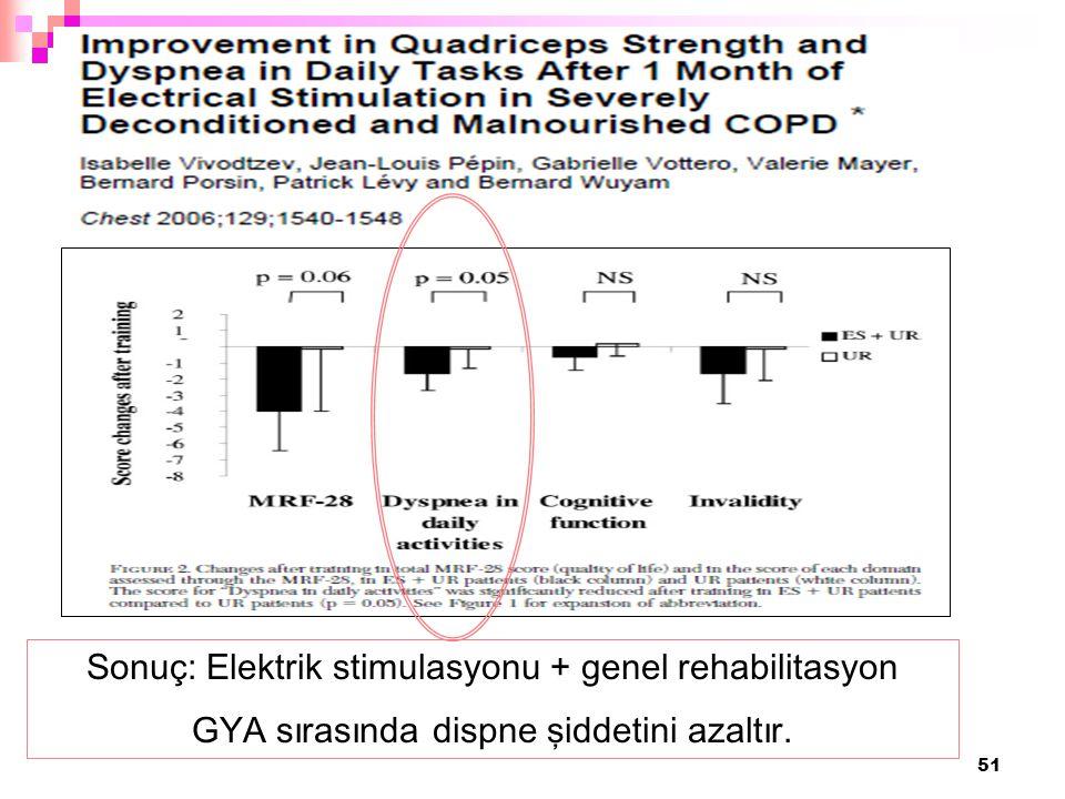 Sonuç: Elektrik stimulasyonu + genel rehabilitasyon
