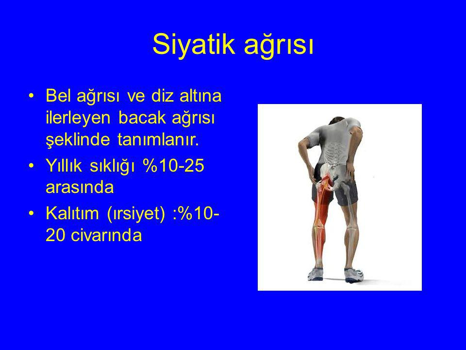 Siyatik ağrısı Bel ağrısı ve diz altına ilerleyen bacak ağrısı şeklinde tanımlanır. Yıllık sıklığı %10-25 arasında.