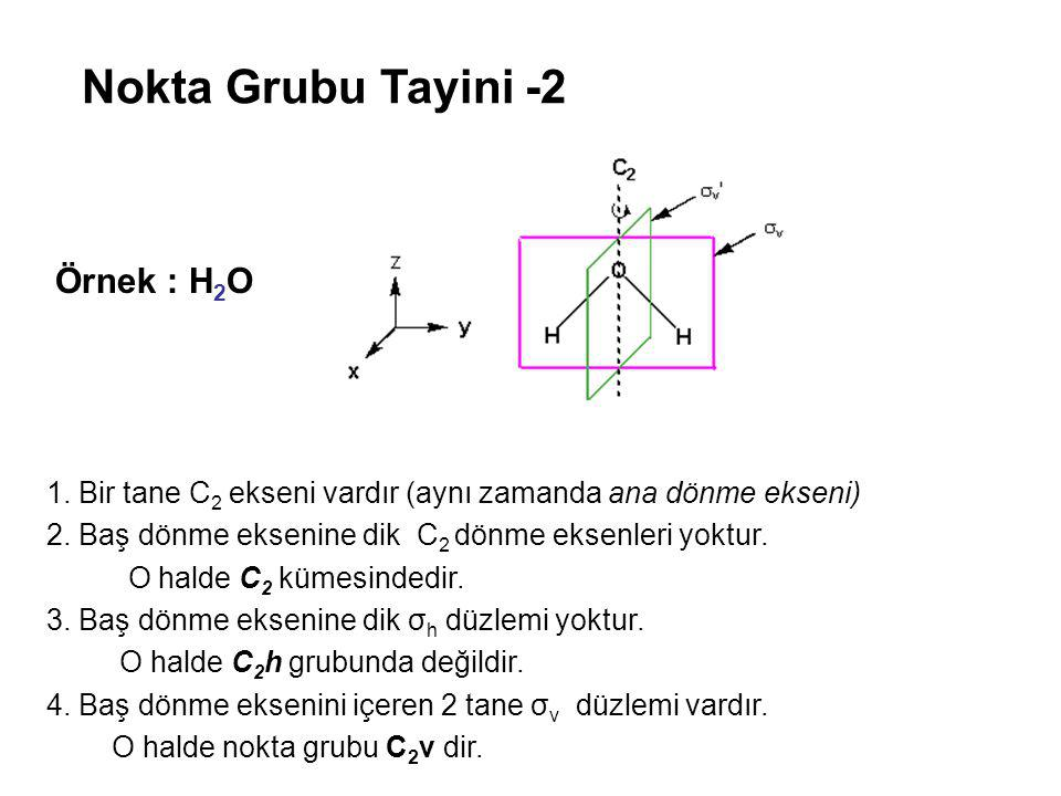 Nokta Grubu Tayini -2 Örnek : H2O
