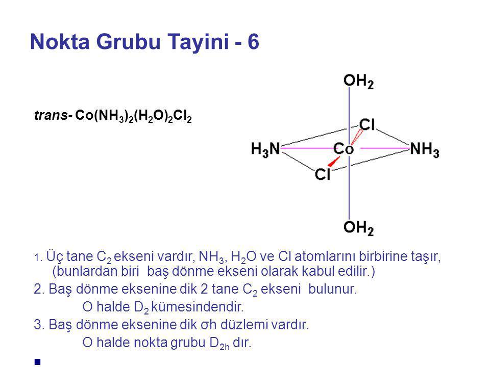 Nokta Grubu Tayini - 6 trans- Co(NH3)2(H2O)2Cl2
