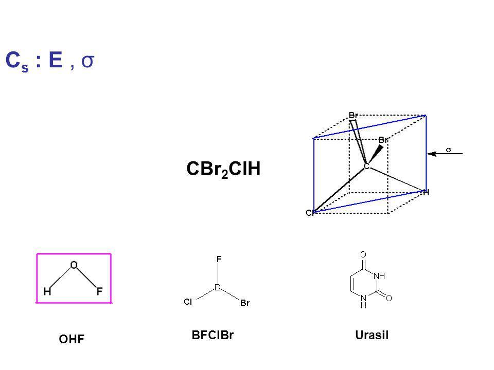 Cs : E , σ CBr2ClH BFClBr Urasil OHF