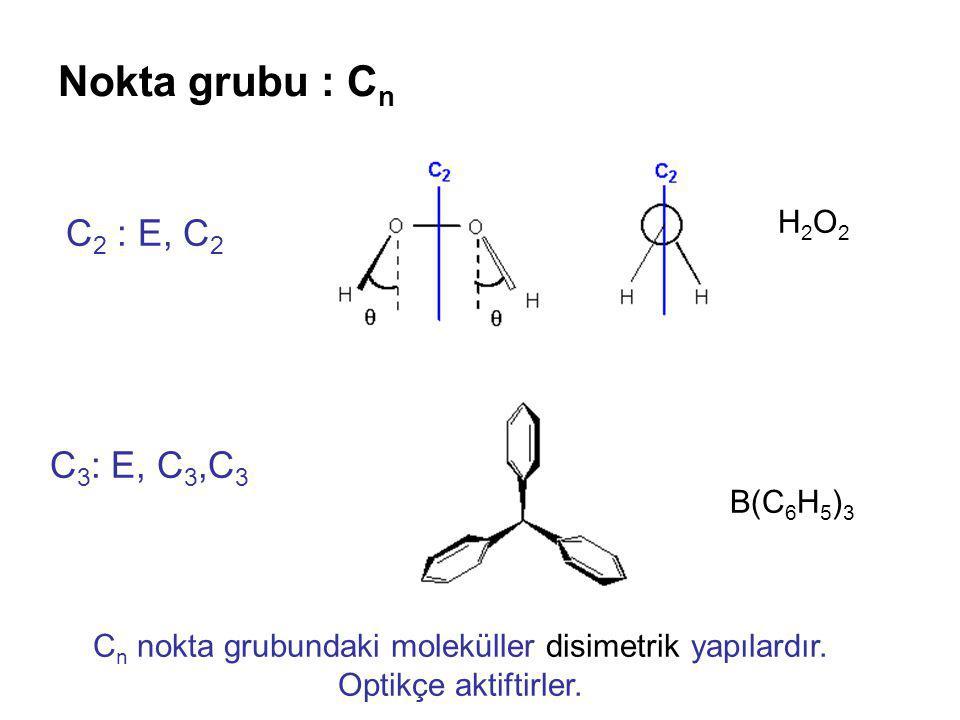 Nokta grubu : Cn C2 : E, C2 C3: E, C3,C3 H2O2 B(C6H5)3